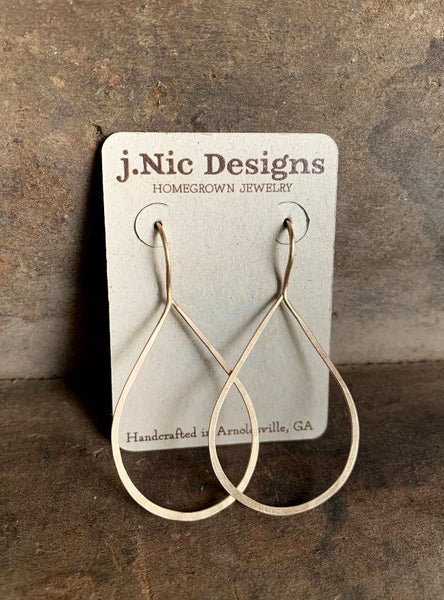 Lissome Earrings Large in 14 kt Goldfill - Handmade. Choice of 2 finishes. Brushed/Matte Gold