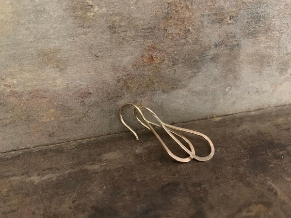 Lissome Earrings Small in 14 kt Goldfill - Handmade. Handforged. Choice of 2 finishes.