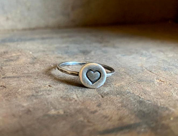 Love Stacking Ring - Sterling & Fine Silver Oxidized Hammered Ring. Hand made by jNic Designs