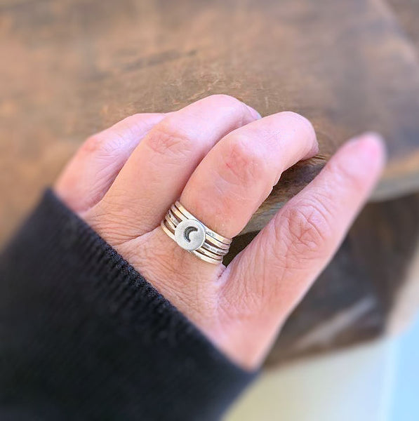 Wish Dandelion Stacking Ring - Sterling & Fine Silver Oxidized Hammered Ring. Hand made.