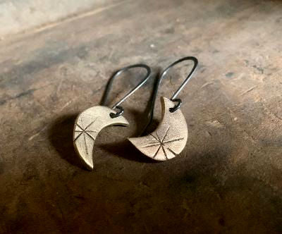 Bronze Luna Earrings - Handmade. Bronze and Oxidized sterling silver dangle earrings. Mixed Metal