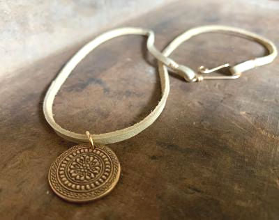 Mandala Necklace - Bronze & 14kt Goldfill. Leather. Handmade.
