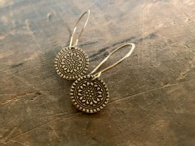 Bronze Mandala Earrings - Handmade. Bronze and 14kt Goldfill dangle earrings.