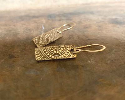 Mandala Tab Earrings - Handmade. Bronze and 14kt Goldfill dangle earrings.