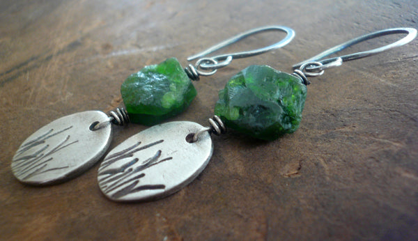 Meadow Earrings- Oxidized fine silver. Raw Chrome Diopside. Dangle earrings.Handmade