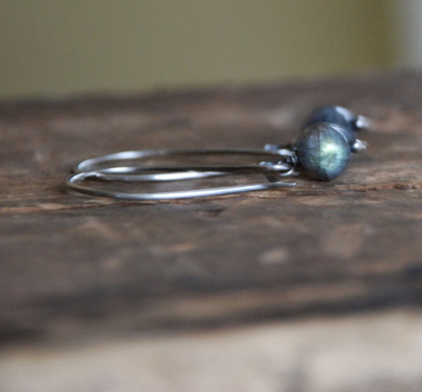 Minimalist - Handmade. hand forged. Labradorite, Oxidized Sterling Silver Dangle Earrings