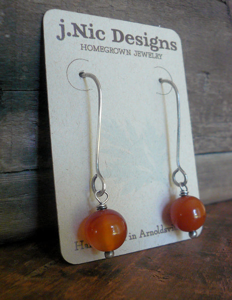 Minimalist in Pumpkin Spice - Handmade Earrings. Carnelian. Oxidized Sterling Silver Dangle Earrings