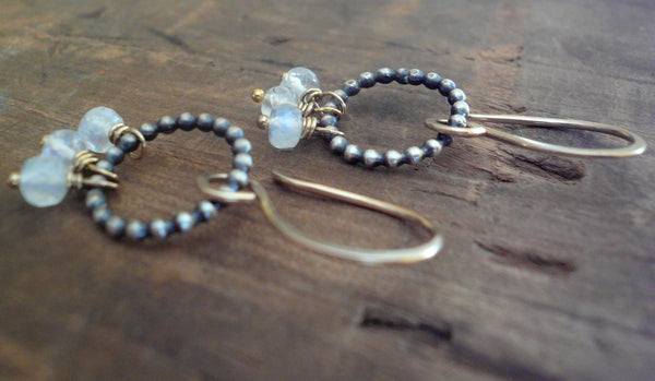 Miscible Trio Collection Earrings - Handmade. Moonstone. Oxidized Sterling silver. 14kt Goldfill. Mixed Metal Earrings