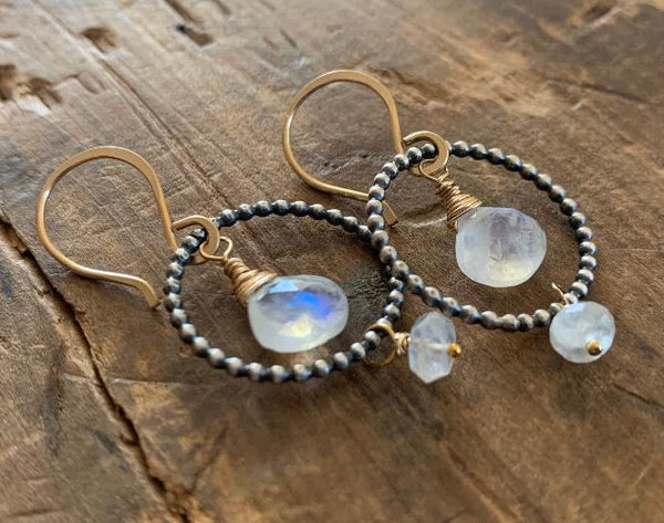 Miscible Collection Earrings - Handmade. Moonstone. Oxidized Sterling silver. 14kt Goldfill. Mixed Metal Earrings