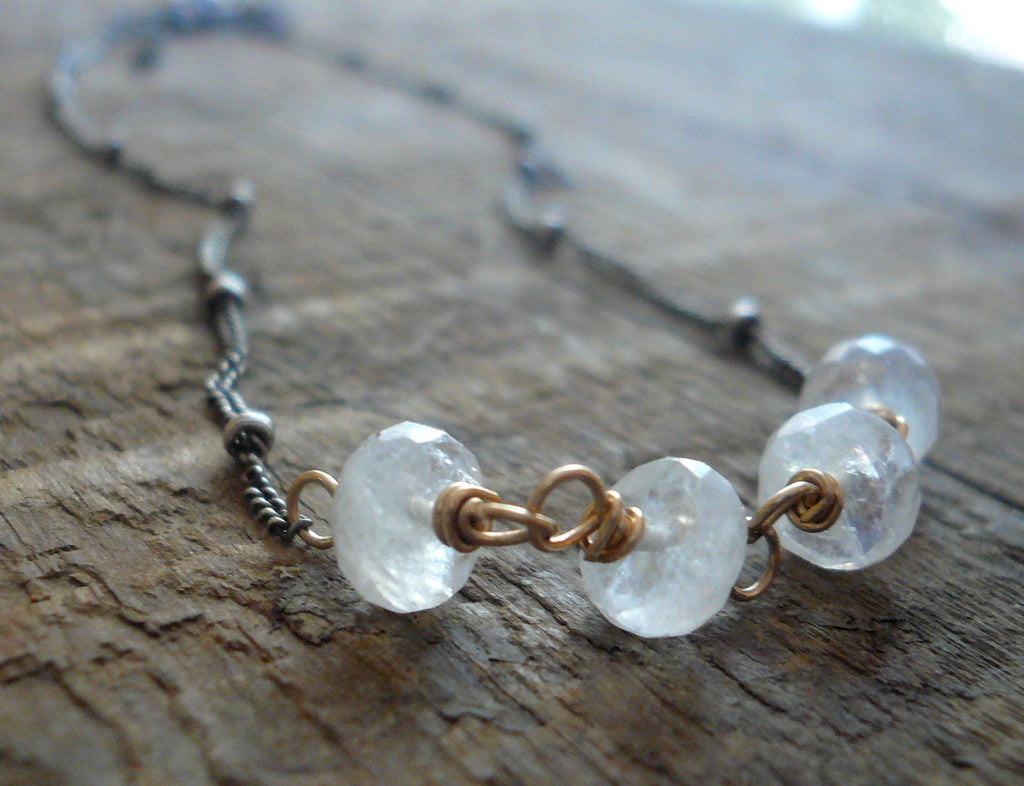 Miscible Collection Necklace - Handmade. Moonstone. Oxidized Sterling silver. 14kt Goldfill. Mixed Metal Necklace
