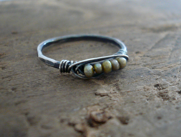 Nestle Ring in Wedgewood - Sterling Silver Stacking Ring. Wire Wrapped Antique European Seed Beads.Hand forged. Handmade by jNicDesigns