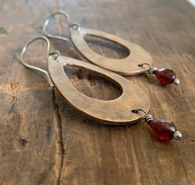 NEW Sangria Earrings - Handmade. Mixed Metal. Garnet. Oxidized Silver & Bronze dangle earrings. January Birthstone
