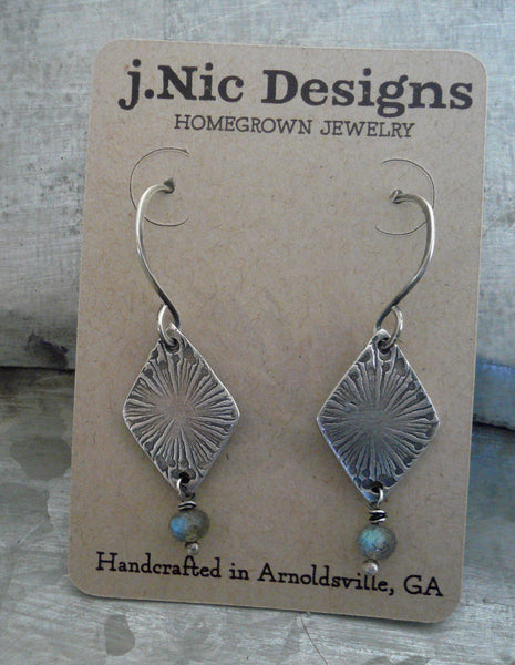 Serein Earrings- Oxidized fine and sterling silver. Labradorite. Dangle earrings.Handmade