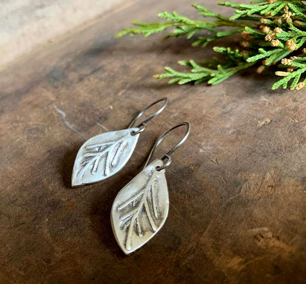 Sprig Earrings - Handmade. Oxidized fine and sterling silver dangle earrings