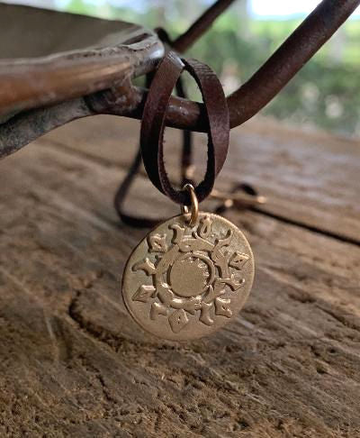 Bronze Summer Sun - Seasons Necklace - Bronze & 14kt Goldfill. Leather. Handmade.