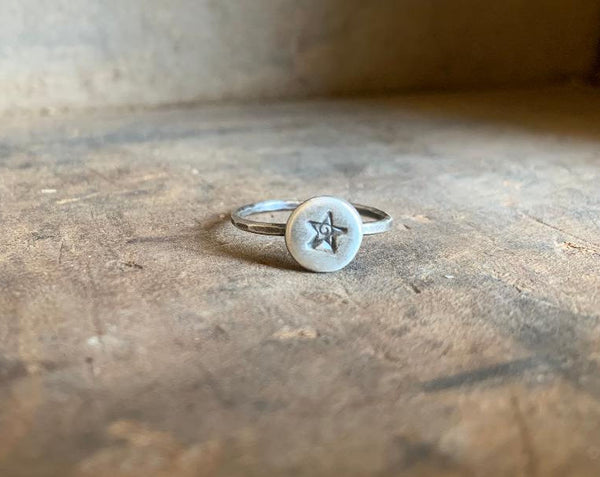 Super Star Ring - Sterling & Fine Silver Oxidized Hammered Ring. Hand made by jNic Designs