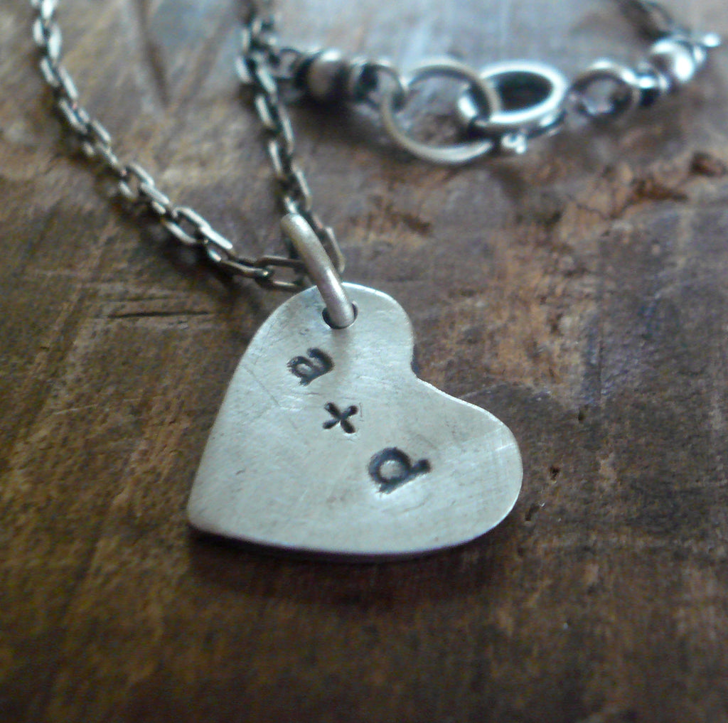 Sweethearts Necklace - Handmade. Oxidized Fine and Sterling Silver Personalized Heart Charm Necklace