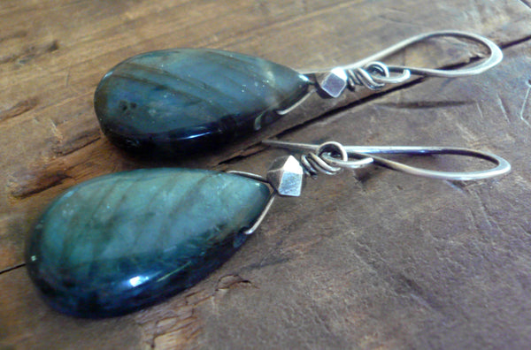 NEW Tempesta Earrings - ONE of a KIND Labradorite, Oxidized sterling & fine silver