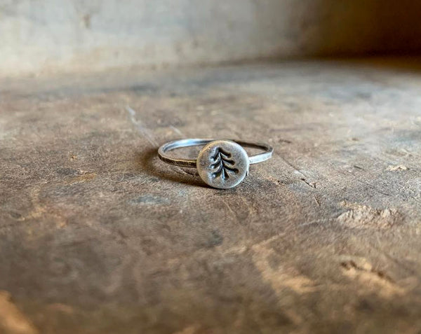 Tree Hugger Stacking Ring - Sterling & Fine Silver Oxidized Hammered Ring. Hand made by jNic Designs