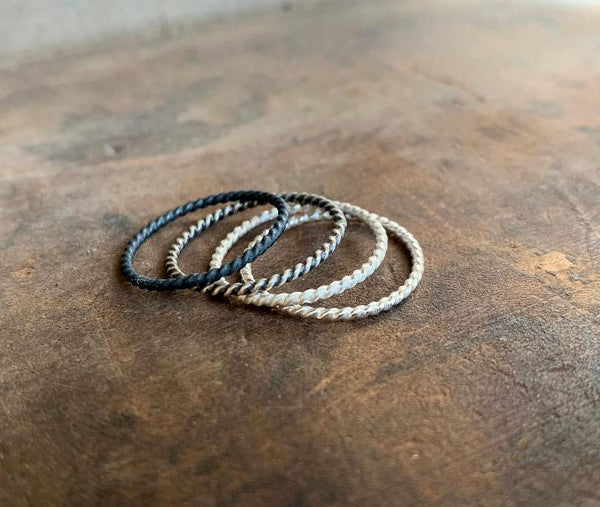 Twisted Every Day Ring - Sterling Silver Stacking Ring. Hand made. 4 Finish Choices.