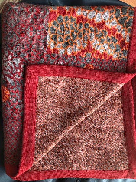 Jacquard Red/Orange Pattern in Merino Wool