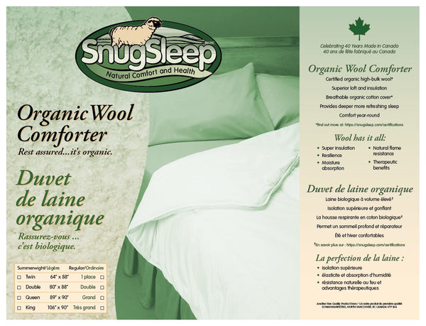 Organic Wool Duvet with Organic Cotton Sateen Shell