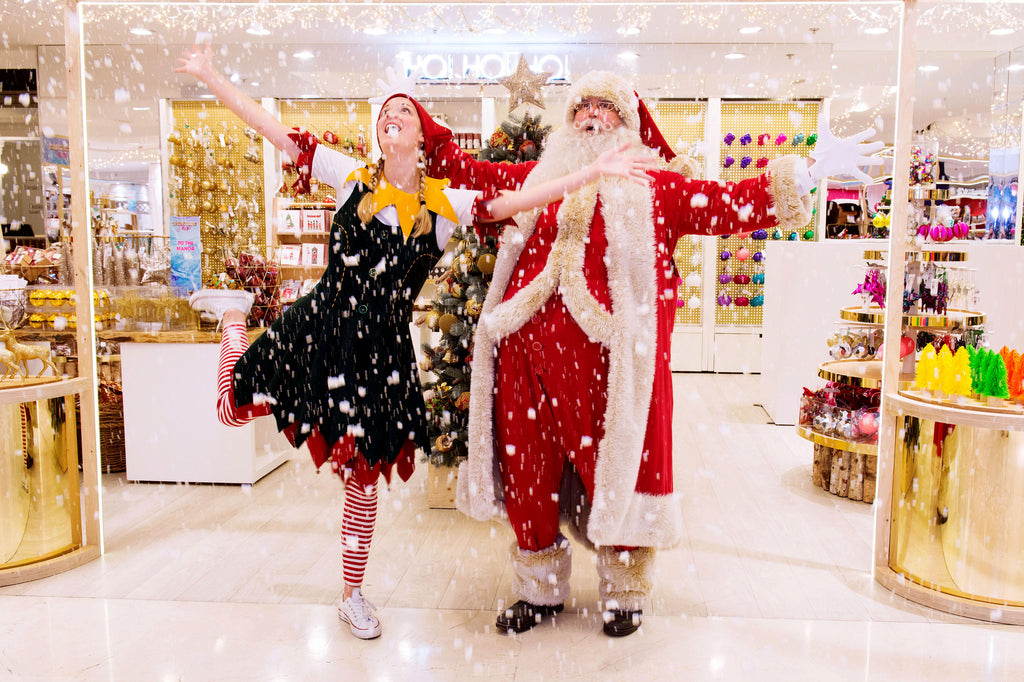 Selfridges Christmas store with Santa and Elf
