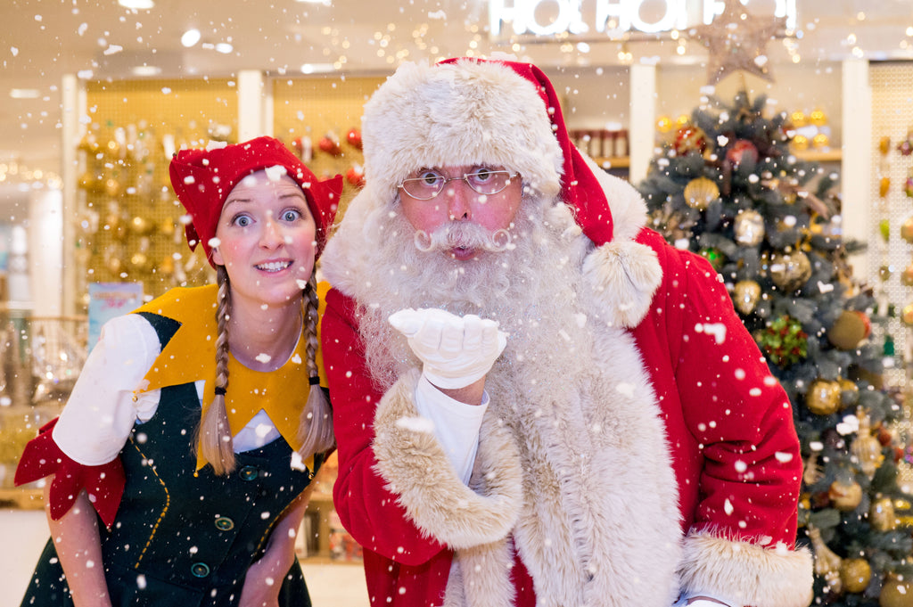 Selfridges Santa and his elf worn in the store