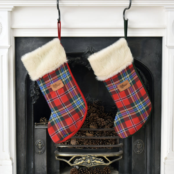 Matching Luxury Tartan Christmas Stocking made from Scottish tartan wool and  huggable ivory faux fur