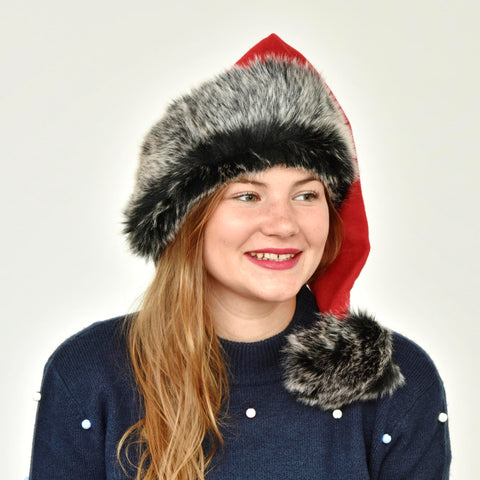 Black Faux Fur Santa Hat