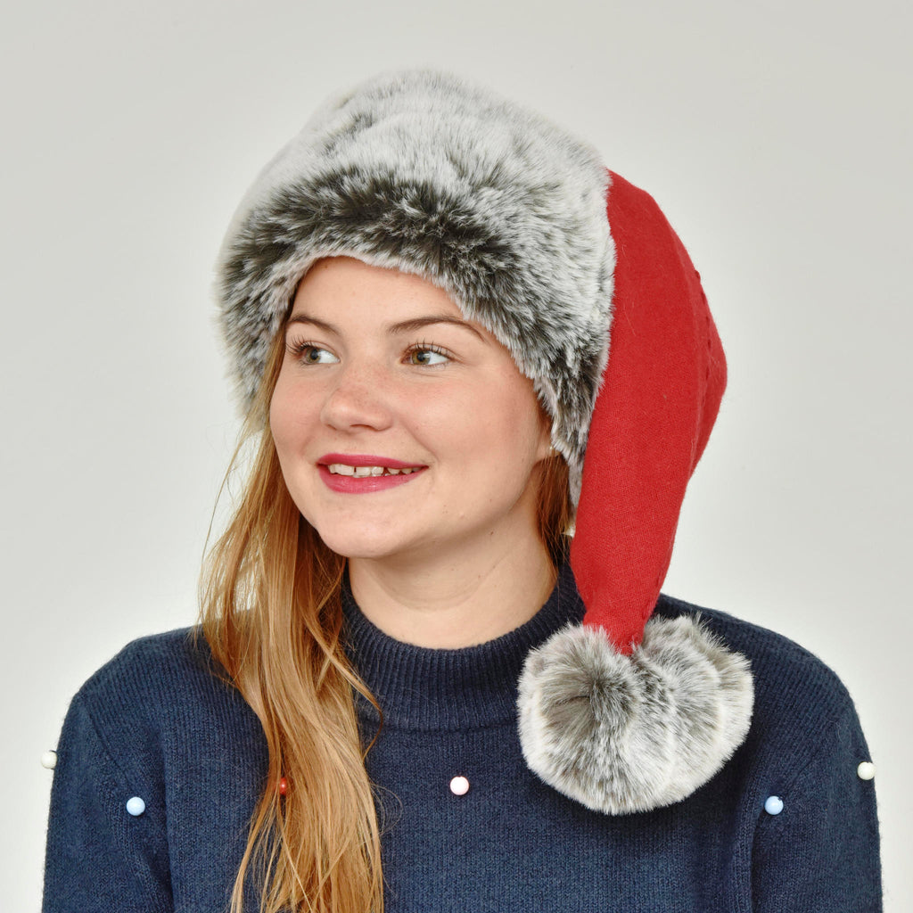 Grey Faux Fur Santa Hat