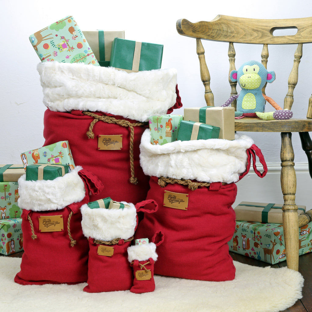 Set of 5 Luxury Christmas Sacks handmade by Santa's Little Workshop, these beautifully sets are ideal for families, 1st child's Christmas Sacks or couples