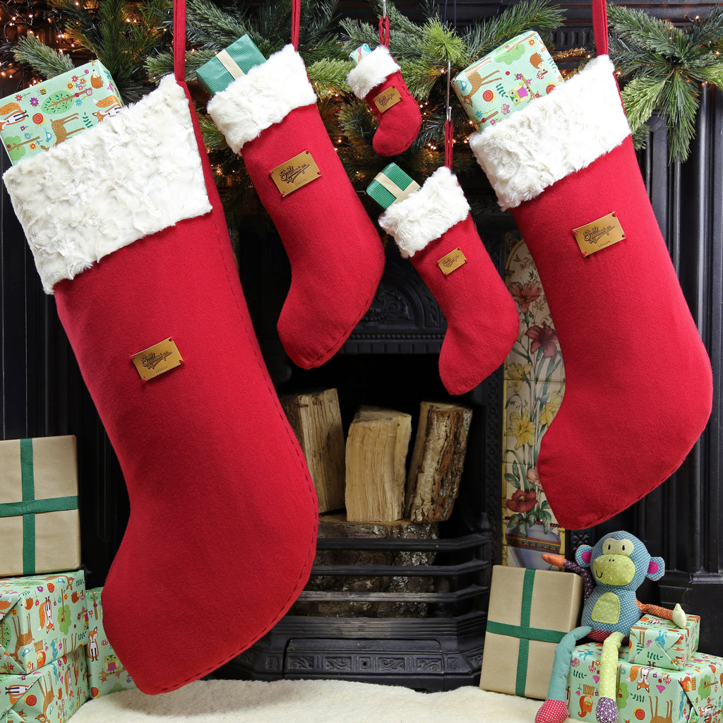 Set of 5 Christmas Stockings - Giant Christmas stocking together with large, medium, small and mini stocking by Santa's Little Workshop, handmade in London