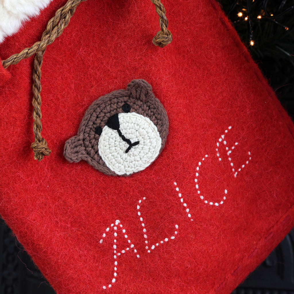 Limited edition Christmas sack with crochet Teddy bear personalised for Alice