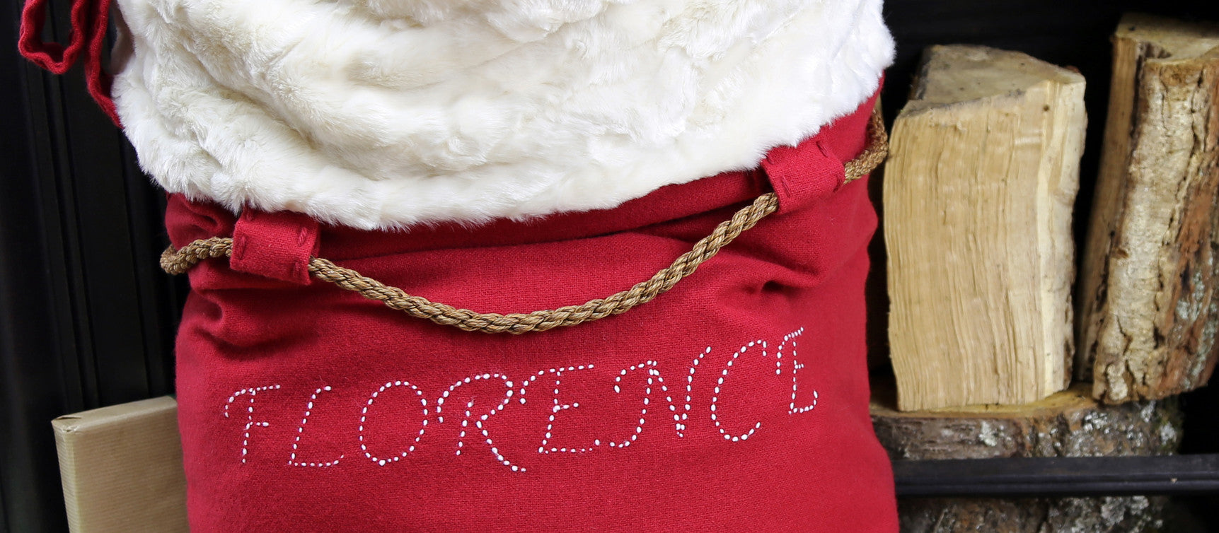 Personalised hand-stitched Santa sack made from luxury faux fur and soft merino wool