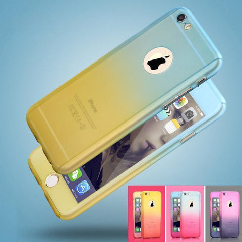 Ombre Tempered Glass + Acrylic Hard Case Full Cover For iPhone