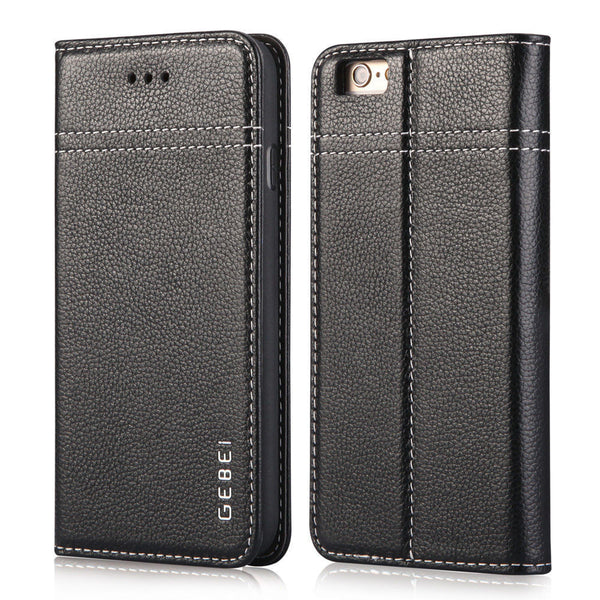 Gebei Luxury Genuine Leather Wallet Case For iPhone