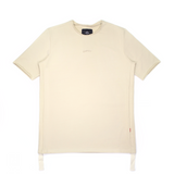 Cream Yellow Raw Cut Side Drawstring Tee