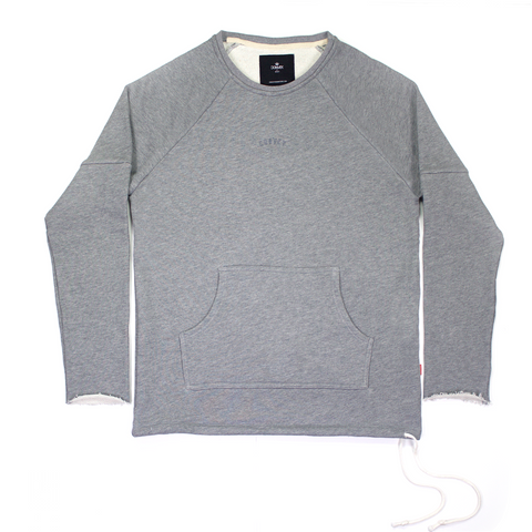 Heather Grey Sweatshirt with Adjustable Waist Drawstring