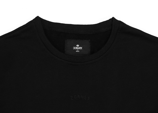 Black Sweatshirt with Invisible Side Zip