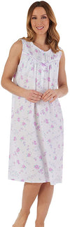 Slenderella ND55205 Woven Lawn Cotton Sleeveless Nightgown - Lilac Reg. $79