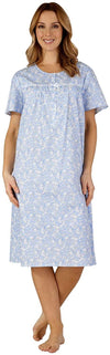 Slenderella 100% Woven Lawn Cotton Nightgown  ND3212 Blue