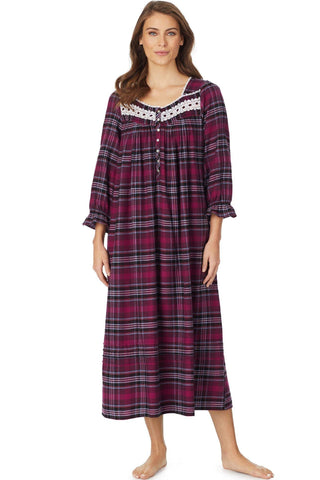 Eileen West Holiday Plaid Flannel Gown