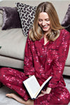 Nora Rose Violet Woven Floral Print Long Sleeve Pajama Set