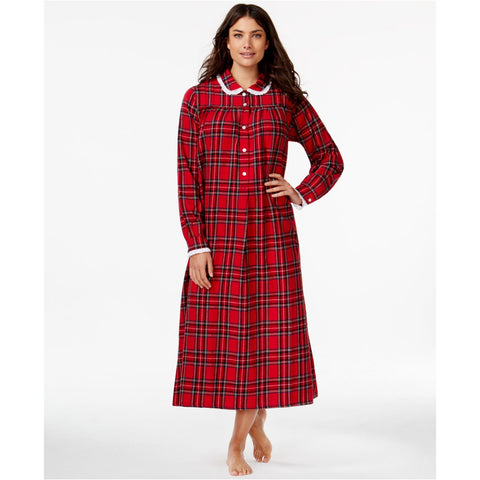 Lanz of Salzburg Cotton Flannel Gown Red Plaid