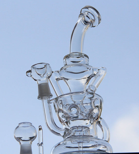 "2x recycler rig 10"" inches rig+bong functions"