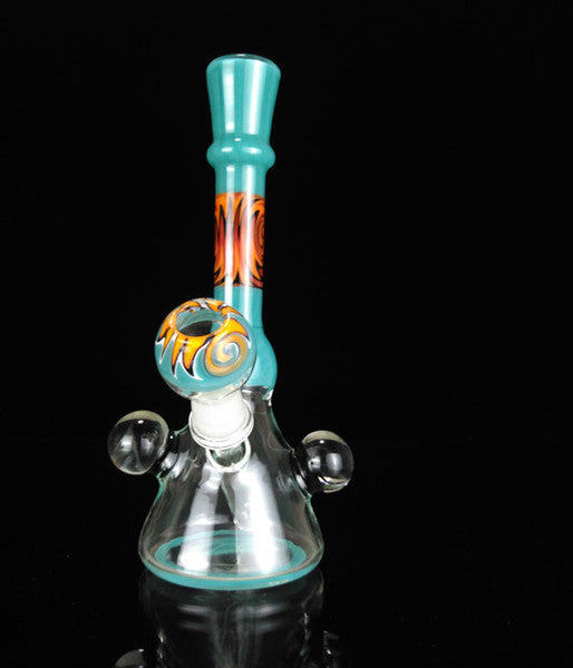 To Turnt Turquoise Rig Colorful Bubbler 14.5mm Female Joint