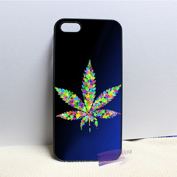 Psychedelic weed leaf phone case  for iphone 4 4s 5 5s 5c SE 6 6s plus 7 plus #N8236