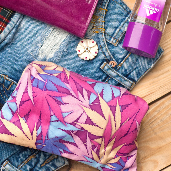 Trend Women Neceser Portable Make Up Bag Case 3D Printing Weed Pink Organizer Bolsa feminina Travel Toiletry Bag Cosmetic Bag