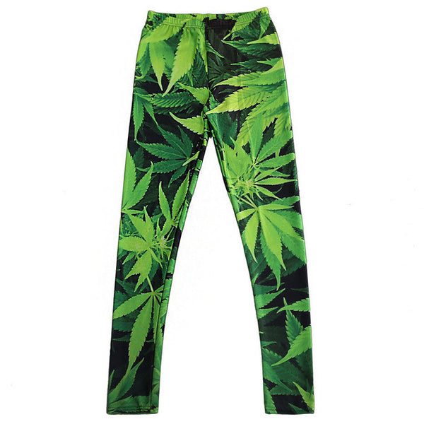 Weed print leggings